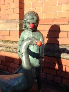 Nosey girl with duck Belfast